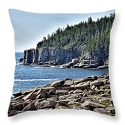 Otter Cliffs In Acadia National Park - Maine Throw Pillow