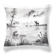 Otter Fog Throw Pillow