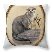 Otter - Growing Curiosity Throw Pillow