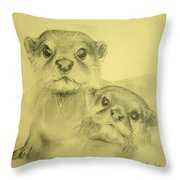 Otters Throw Pillow