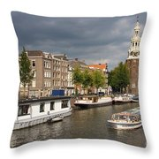 Oudeschans And Montelbaanstoren. Amsterdam. Netheralnds. Europe Throw Pillow