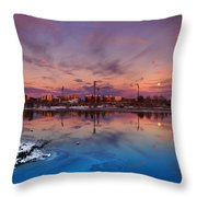 Oulu Moonrise Panorama Throw Pillow