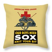 Our Boys Need Sox - Knit Your Bit Throw Pillow by War Is Hell Store