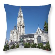 Our Lady Cathedral Antwerp Throw Pillow