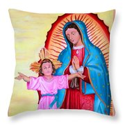 Our Lady Of Guadalupe And Child Throw Pillow
