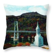 Our Lady Of Mt Carmel Church Steeple - Poughkeepsie Ny Throw Pillow