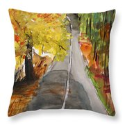 Our Road With Yellow Maple Throw Pillow