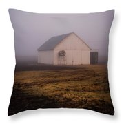 Out Building In The Fog Throw Pillow