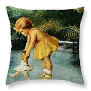 Out For A Stroll In The Garden Throw Pillow