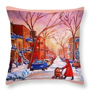 Out For A Walk With Mom Throw Pillow
