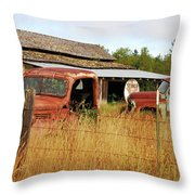 Out Of Gas. Rusty Trucks And Texaco Sign Throw Pillow