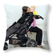 Out Of The Baby Stroller -- A Mother And Daughter Throw Pillow