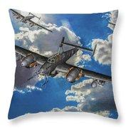 Out Of The Sun - Messerschmitt Bf 110g - Oil Throw Pillow