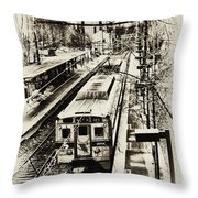 Outbound Train Throw Pillow