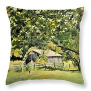 Outbuilding At Oriskatach New York Throw Pillow