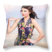 Outdoor Fashion Portrait. Spring Twilight Beauty Throw Pillow