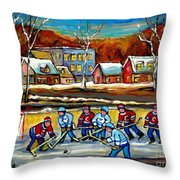 Outdoor Hockey Rink Throw Pillow