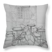 Outdoor Seating - Pirates Alley - French Quarter Throw Pillow