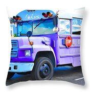 Outer Banks University Bus 2 Throw Pillow