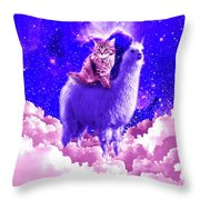 Outer Space Galaxy Kitty Cat Riding On Llama Throw Pillow