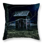 Outhouse In The Moonlight With Flying Crows Throw Pillow