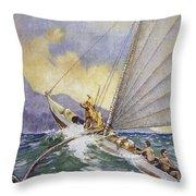 Outrigger At Sea Throw Pillow