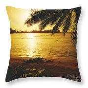 Outrigger At Sunset Throw Pillow