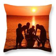 Outrigger Sunset Silhouet Throw Pillow