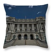 Outside The Library Of Congress Throw Pillow