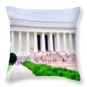Outside The Lincoln Memorial Throw Pillow