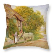 Outside The Village Inn Throw Pillow