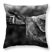 Outstreched Hand B-w Throw Pillow