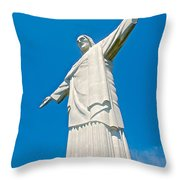 Outstretched Arms Of Christ The Redeemer Icon On Corcovado Mountain In Rio De Janeiro-brazil  Throw Pillow