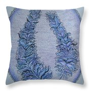 Oval With Two Tangled Feathers Throw Pillow