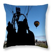 Over Auburn And Lewiston Hot Air Balloons Throw Pillow