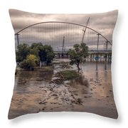 Over Her Banks Throw Pillow