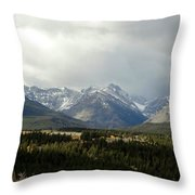 Over The Fence To Dusted Mountains Throw Pillow
