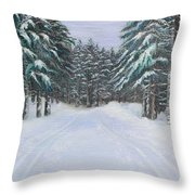 Snow Tracks Throw Pillow