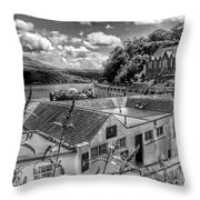 Over The Rooftops At Portree In Greyscale 2 Throw Pillow