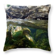 Over Under Honu Throw Pillow