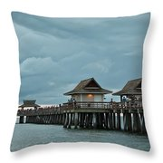 Clouds Over The Naples Pier Throw Pillow