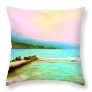 Overcast Sunset At Napoopoo Beach Park Throw Pillow