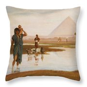 Overflow Of The Nile Throw Pillow by Frederick Goodall