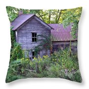 Overgrown Abandoned 1800 Farm House Throw Pillow