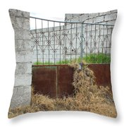 Overgrown Rusted Gate Throw Pillow