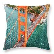 Overhead Aerial Of Golden Gate Bridge, San Francisco, Usa Throw Pillow