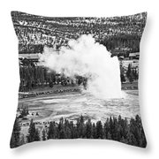Overhead View Of Old Faithful Erupting. Throw Pillow
