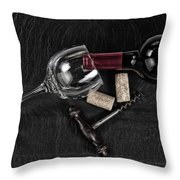 Overhead View Of Vintage Corkscrew With Red Wine Bottle And Glas Throw Pillow