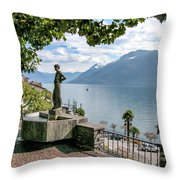 Overlook Of Lake Maggiori Throw Pillow