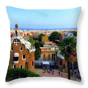 Overlooking Barcelona From Park Guell Throw Pillow